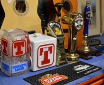 VARIOUS BAR ACCESSORIES, BEER TAPS, BAR MAT, ICE BUCKET ETC