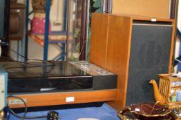 VINTAGE PYE BLACK BOX TURNTABLE WITH PAIR OF TEAK CASED SPEAKERS