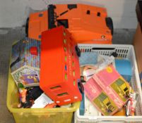 ACTION MAN TRUCK & 2 BOXES WITH VARIOUS TOYS, CINDY, ACTION MAN ETC