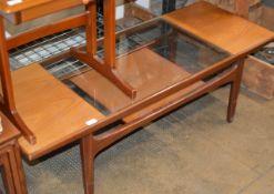 MID-CENTURY G-PLAN TEAK GLASS TOP COFFEE TABLE
