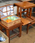 TEAK TABLE WITH PULL OUT SLIDE, NEST OF 3 TEAK TABLES & PICNIC SET