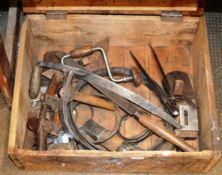 WOODEN CRATE WITH VARIOUS OLD HAND TOOLS