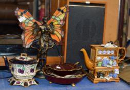 DECORATIVE ART NOUVEAU STYLE LAMP, 3 CARLTON WARE DISHES & 2 LIDDED TEAPOTS