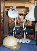 OLD HELMET & 2 VINTAGE ANGLE POISE LAMPS