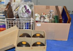 SET OF TAYLOR LAWN BOWLS & 2 BOXES WITH ASSORTED CRYSTAL WARE, VARIOUS CUTLERY, QUANTITY TEA WARE