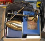 BOX CONTAINING ANGLE LAMP, EP TRAY & VARIOUS MODERN SETS OF CUTLERY