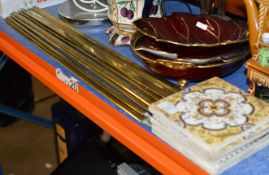 QUANTITY BRASS STAIR RODS & 5 OLD TILES