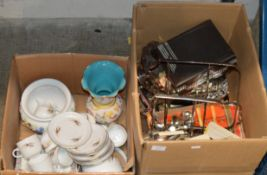 2 BOXES WITH QUANTITY TEA WARE, DECORATIVE VASE, EP WARE, CUTLERY, BASKETS ETC