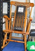 PINE ROCKING CHAIR, WALL CLOCK & QUANTITY PICTURES