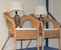 PAIR OF WICKER CHAIRS & PAIR OF MODERN LAMPS