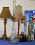 2 TABLE LAMPS, FIGURINE ORNAMENT, LARGE GLASS BOTTLE DISPLAY & GRADUATED SET OF 3 GLASS BOTTLES