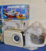 VINTAGE STYLE RADIO, SEWING MACHINE, PLAYMOBIL TOY & KITCHEN MIXER