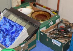 3 BOXES WITH MIXED CERAMICS, GLASS WARE, ASSORTED TOOLS, DINNER WARE & GENERAL BRIC-A-BRAC