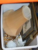 BOX WITH ASSORTED PICTURES, TABLE LAMP WITH SHADE, TEA WARE ETC