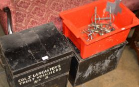 3 VARIOUS METAL BOXES & BOX WITH METAL FITTINGS