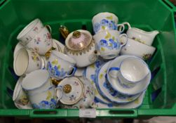 BOX WITH ASSORTED TEA WARE