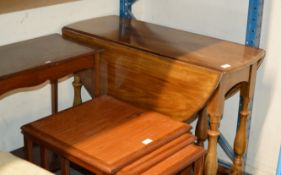 MAHOGANY DROP LEAF TABLE & 1 OTHER TABLE