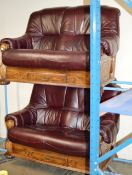 2 PIECE OAK FRAMED WINE LEATHER LOUNGE SUITE WITH STORAGE DRAWERS COMPRISING 2 X 2 SEATER SETTEES