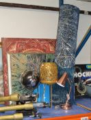 MODERN RUG, 3 VARIOUS PICTURES, GLOBE DISPLAY, LANTERN, ANGLE LAMP, LAPTOP STAND ETC