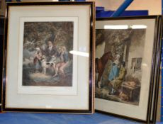 4 OLD COLOURED ETCHINGS
