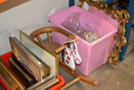GILT FRAMED MIRROR, NOVELTY WOODEN ROCKING HORSE & 2 BOXES WITH ASSORTED CRYSTAL WARE, CERAMICS,