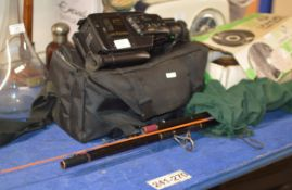 SOY HANDY CAM, SET OF TAYLOR BOWLS IN BOX & QUANTITY FISHING RODS