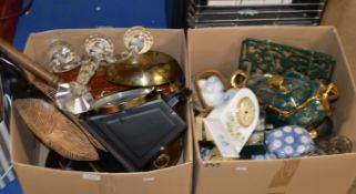 2 BOXES WITH MIXED CERAMICS, KITCHEN SCALES, CANDELABRA, DECANTER & GENERAL BRIC-A-BRAC