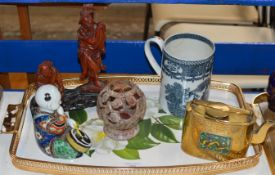 TRAY WITH CHINESE BRASS TEAPOT WITH CLOISONNÉ PANEL, OLD BLUE & WHITE CHINOISERIE POTTERY TANKARD,