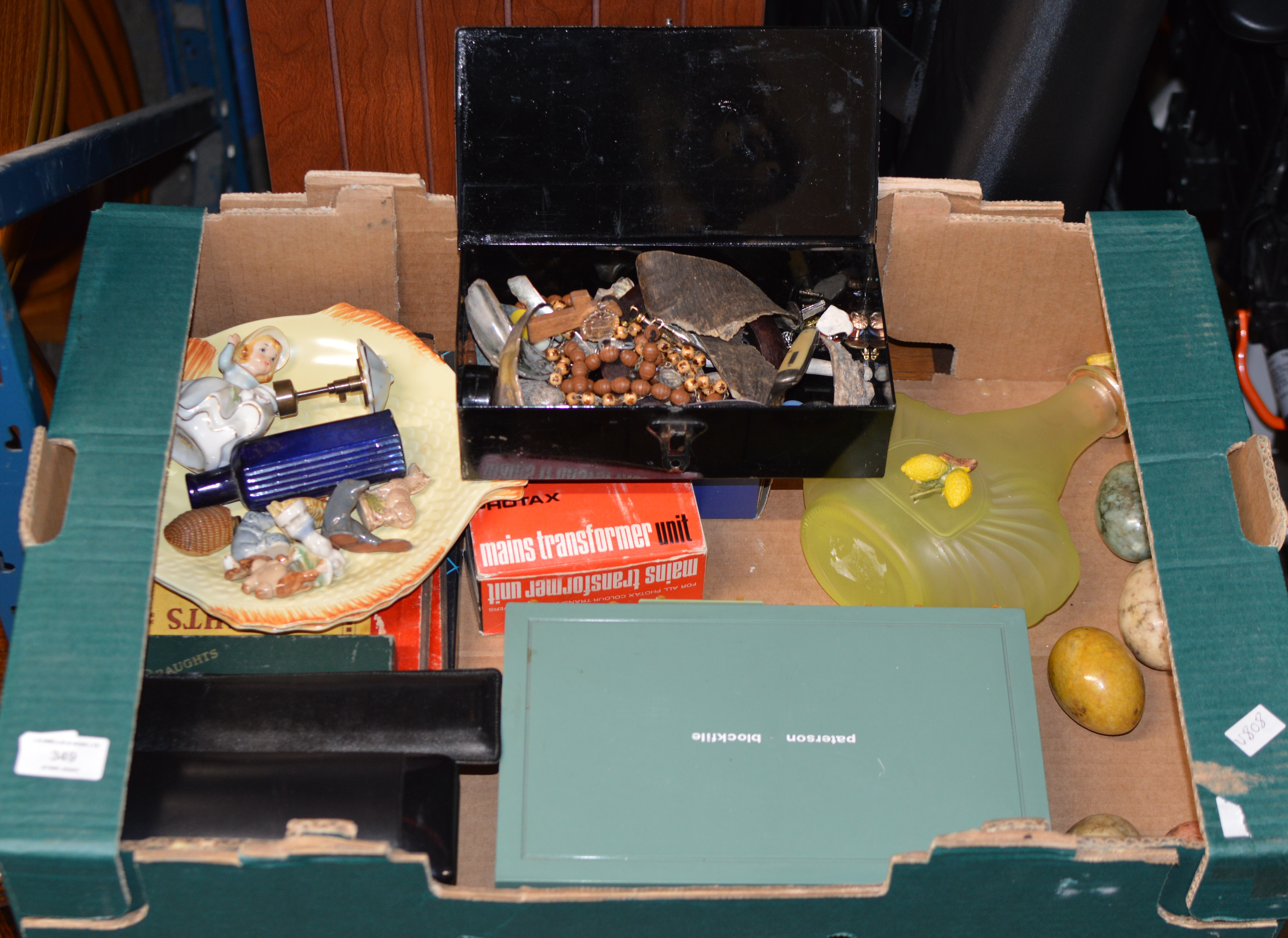 BOX WITH COSTUME JEWELLERY, PEN KNIFE, DECORATIVE EGGS, WADE WHIMSIES ETC