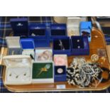 TRAY WITH VARIOUS BOXED SETS OF SWAROVSKI JEWELLERY, COSTUME JEWELLERY, BEADS, BROOCHES, DRESS RINGS