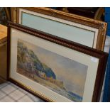FRAMED WATERCOLOUR - COASTAL SCENE WITH FIGURES, SIGNED F.B 1865, SIGNED LOWER LEFT & MODERN