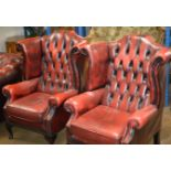 PAIR OF CHESTERFIELD OX BLOOD LEATHER WING BACK ARM CHAIRS
