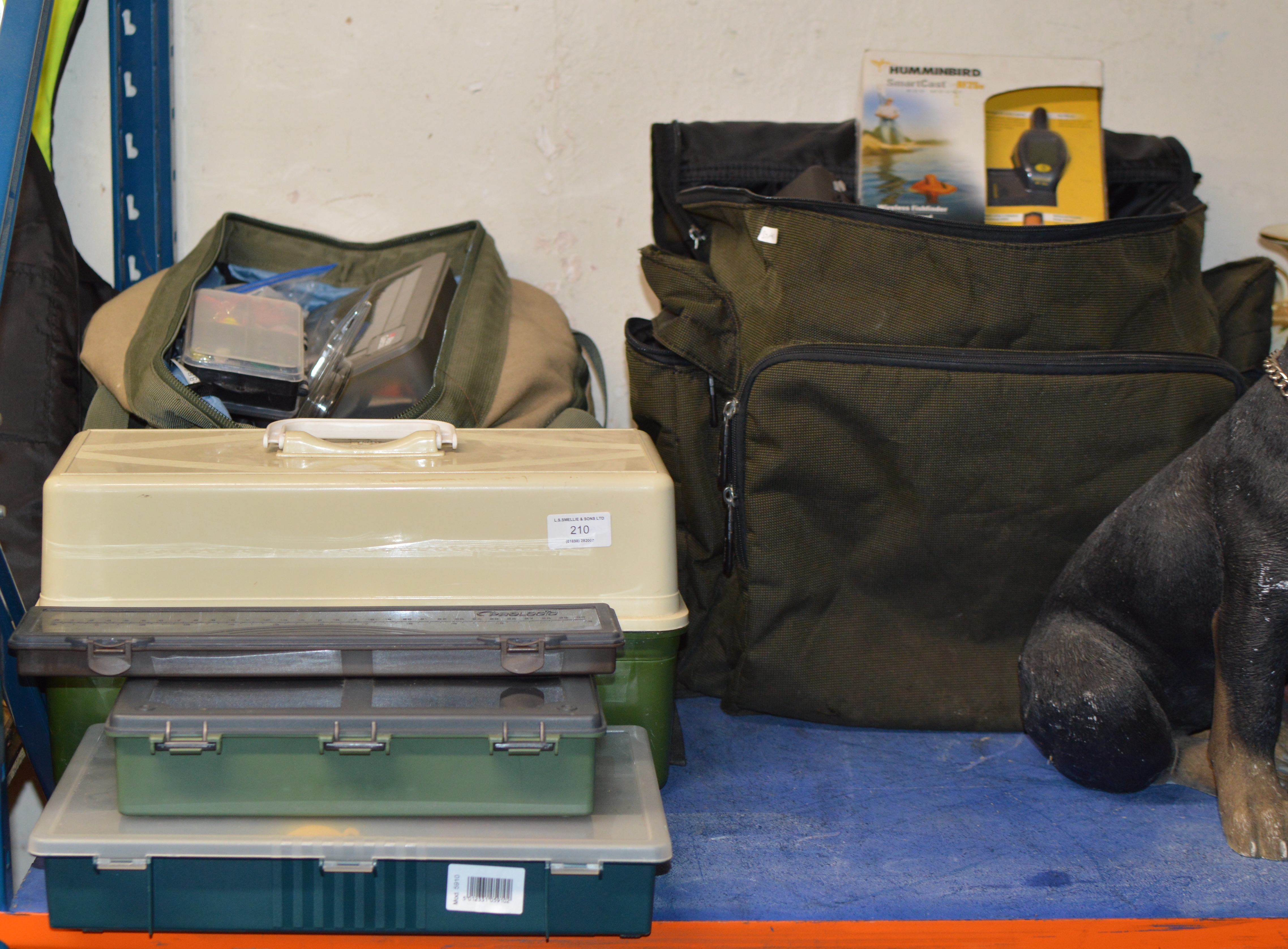 LARGE QUANTITY OF ASSORTED FISHING TACKLE OVER VARIOUS BAGS & TACKLE BOXES, FLOATS, LURES, BITE