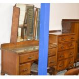 WALNUT DRESSING TABLE WITH MATCHING 4 DRAWER CHEST & PADDED STOOL