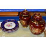 TRAY WITH 3 VARIOUS CARLTON WARE JARS, DECORATIVE DISH & 5 ROYAL ALBERT DINNER PLATES