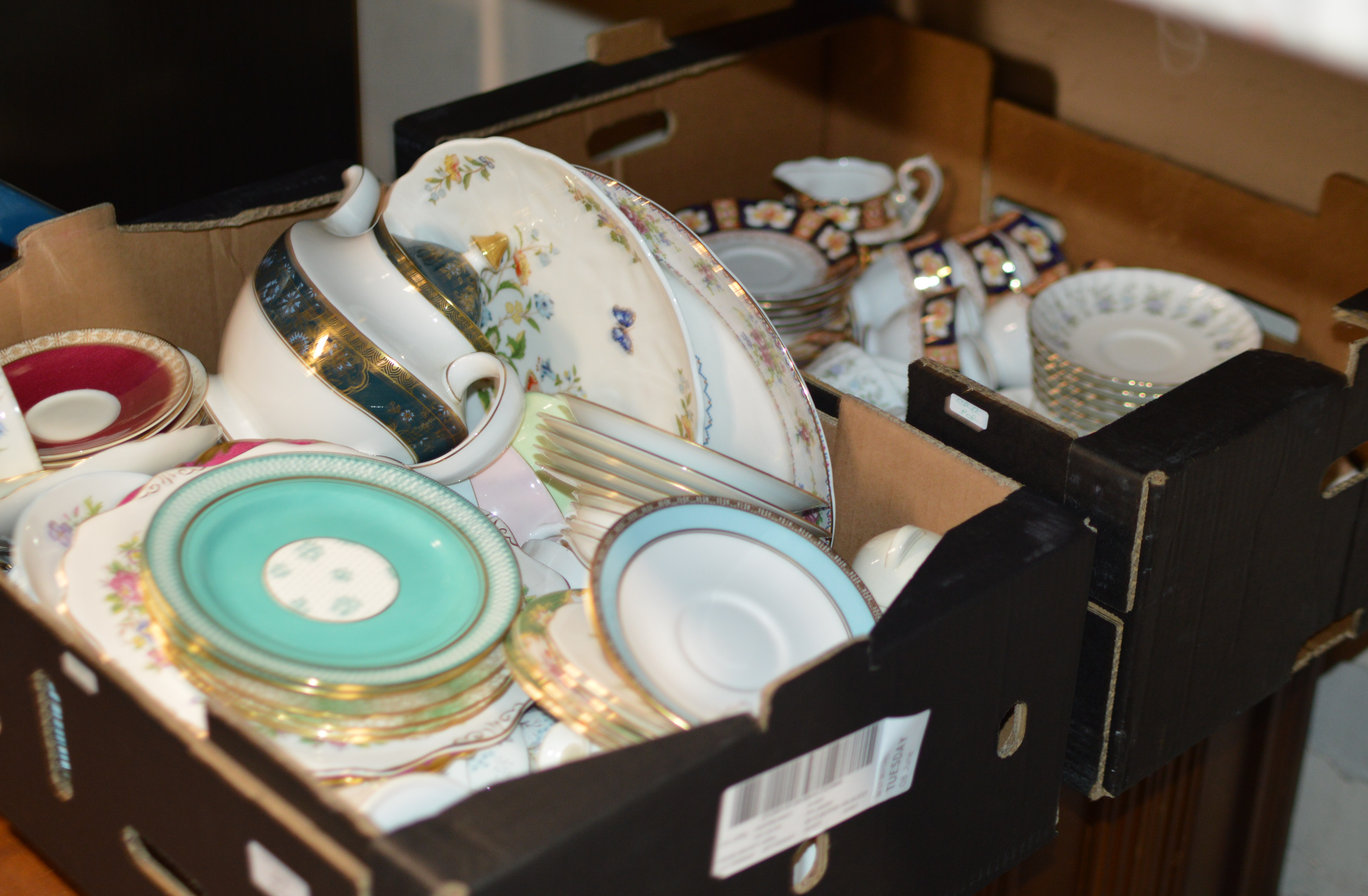 2 BOXES WITH ASSORTED TEA WARE
