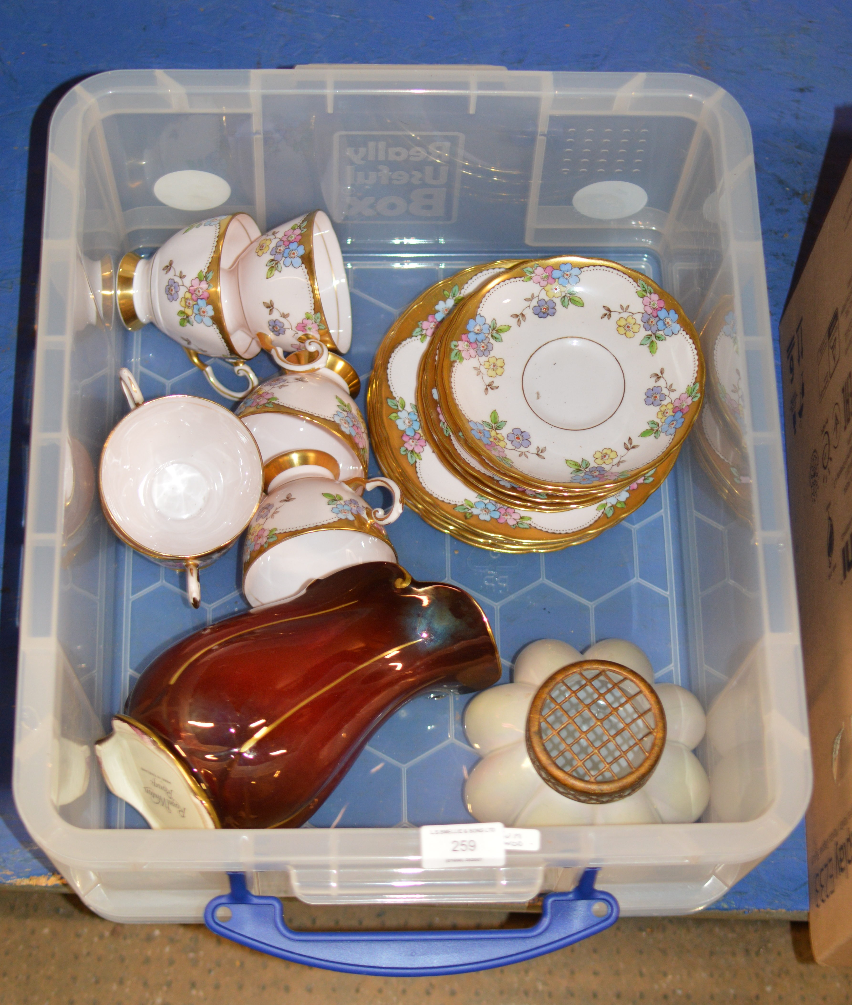 BOX WITH DECORATIVE FLOWER BASKET, ROYAL WINTON JUG & QUANTITY TUSCAN TEA WARE