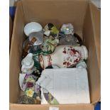 BOX WITH MIXED CERAMICS & GLASS WARE, PICQUOT WARE TEA SERVICE, MASONS VASE, DISPLAY PLATES ETC