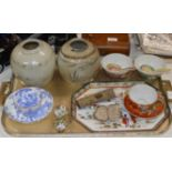 TRAY WITH VARIOUS ORIENTAL CERAMICS, GINGER JARS, CUP & SAUCER, DAGGER HANDLE, WHITE METAL BUCKLE