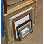 GILT FRAMED WALL MIRROR & VARIOUS PICTURES, TRAM PICTURES ETC
