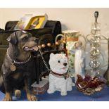 2 LARGE DOG ORNAMENTS, DECORATIVE VASE, MODERN LAMP, NAO STYLE FIGURINE & COLOURED GLASS ASHTRAY