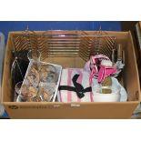 BOX WITH USING GLASS WARE, DISH RACK, KITCHEN UTENSILS ETC