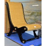 VICTORIAN EBONISED FOOT STOOL / CHILDS CHAIR