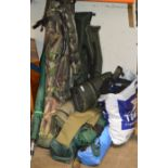 LARGE QUANTITY VARIOUS ROD BAGS, VARIOUS FISHING ACCESSORIES, ROD HOLDERS ETC