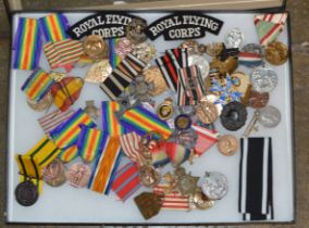 DISPLAY CASE WITH VARIOUS MEDALS, RIBBONS & BADGES