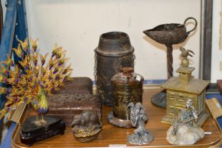 TRAY WITH DECORATIVE BOXES, ORIENTAL STYLE TEA CADDY, RAT DISPLAY, WHITE METAL ORNAMENTS, NOVELTY
