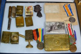 DISPLAY CASE WITH VARIOUS MEDALS, CHRISTMAS BOX, MATCH BOOK COVERS ETC