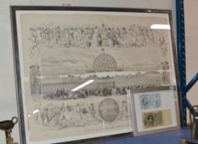 LARGE FRAMED PRINT - THE GREAT EXHIBITION OF THE INDUSTRY OF ALL NATIONS & FRAMED BANK NOTE DISPLAY
