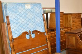 AMERICAN REPRODUCTION MAHOGANY STAINED BEDROOM SUITE COMPRISING BED FRAME, MATTRESS, CHEST ON CHEST,