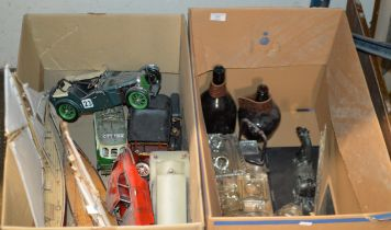 2 BOXES CONTAINING VARIOUS OLD BOTTLES, GLASS DESK STANDS, ORIENTAL STYLE HORSE DISPLAY, MODEL